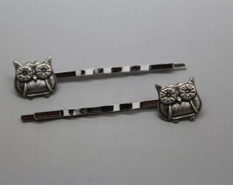 Silver Owl Bobby Pins