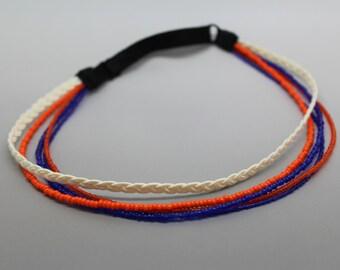 Blue and Orange Adjustable Beaded Headband