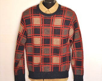 1970's Retro Sweater Jumper Medium Donegal Ireland Flecked Navy Blue, Red & Tan Funky Plaid Machine Wash Crew Neck Pullover