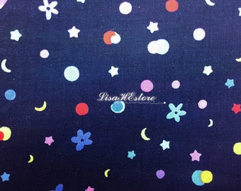 Star moon dot and floral, dark blue, 1/2 yard, pure cotton fabric