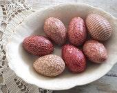 Red Easter Egg Bowl Filler Ornies Shabby Cottage Farmhouse Decor, Easter Decoration