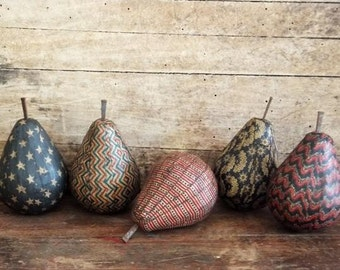 Primitive Americana Pear Bowl Fillers, Patriotic Folk Art, Memeorial Day, Summer, Forth of July Decoration