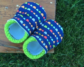 Baby Shoes for Boys - Navy Blue with Orange, Green and Red Flags with Polka Dot Fabric - Custom Sizes 0-3 3-6 6-12 12-18 18-24 months 2T-4T