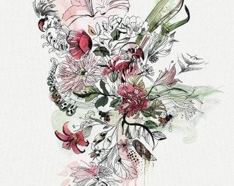 Abstract Painting,Watercolor Painting, Watercolor Flower Print, Modern Art, Flowers Art Print, Flower Art