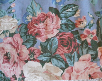 Vintage Roses Cotton Canvas Fabric Pink Roses On Gray- Blue Background Over 2 Yards  Sewing Fabric Sewing Supplies Vintage Material