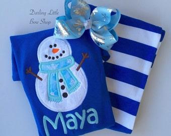 Christmas Pajamas for Children -- Snowman Pajamas -- Blue and White pajama set with name, sizes 6 month through kids 10
