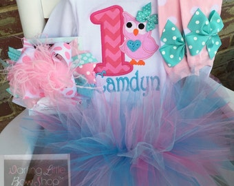 Owl birthday set -- tutu outfit for first birthday -- personalized bodysuit, leg warmers, tutu, Over The Top bow in pinks and aquas
