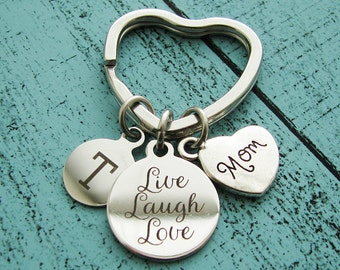 Mothers Day gift for mom, personalized mom gift, moms keychain, live laugh love, mom birthday gift, mommy keychain, parent gift
