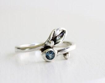 Leaf Ring,London Blue Topaz Small Leaf Silver Ring