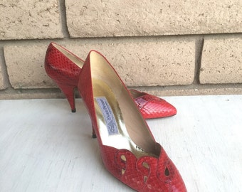 Vintage Red Snakeskin Heels by Evan Picone NOS New Old Stock Size 7