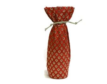 Wine Bag Banaras sari fabric woven elegant brocade red gold dark purple gift bag Hostess gift favors reusable