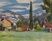 Fresh snow, striped sky - original Winter plein air landscape painting, egg tempera on paper, 22 X 32 cm ; 8.7 X 12.6 inch, Shirley Kanyon