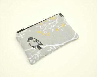change purse coin purse zipper pouch zipper bag gray bird change purse gray change purse gray bird coin purse gray coin purse