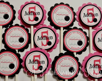 Pink and Black Bowling Birthday Cupcake Toppers - Set of 12