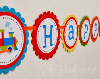Bright Train Choo Choo Happy Birthday or Baby Shower Banner