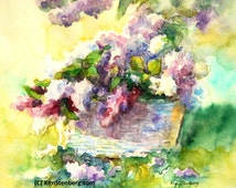 """ON SALE, Lilac Painting, Original Watercolor, """"Lilac Basket"""" by Kim Stenberg, Rich Impressionistic Art, Matted, Ready for a  11 x 14 Frame"""""""