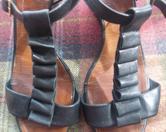 SALE  Chie Mihara black leather wedge sandals uk size 7, eu 40