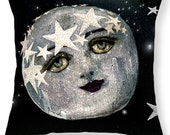 Surreal Magic Fairytale Moon Space Accent Decorative Pillow Fine Art Home Decor