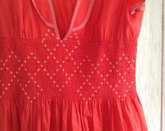 Naughty Valentine Dress  in Bright Red With Plunging Neckline. Size Medium
