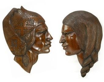 wood sculpture, wall hanging, male, female, portrait, La Paz, inca, Bolivia,wood grain,traditional headwear, original carving, artist signed