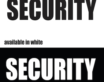 Security iron-on shirt decal transfer, for dark fabric, black shirt, big brother, ring security, large decal