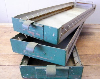 3 Old Vintage Industrial Factory Machinist Metal Storage Parts Bin Drawers