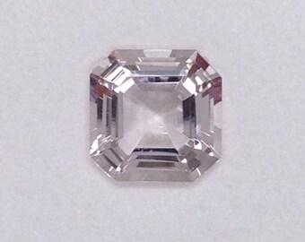Engagement Ring very pale pink morganite Gemstone, Asscher cut 3.94 carats Square Octagon, diamond alternative