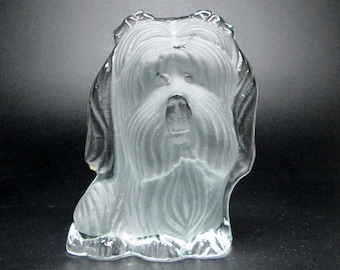 Viking glass dog with bows in hair - Shih Tzu or yorkie ?  no marks or labels .