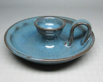 Jugtown North Carolina pottery blue candle holder marked and date 1987