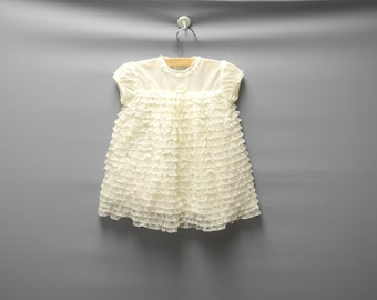 Vintage Baby Clothes, 1950's Cream Lace Baby Girl Dress, Vintage Baby Dress, Cream Baby Dress, Ruffle Baby Dress, Size 6-9 Months