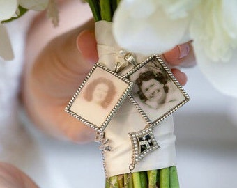 3 KITS to make Wedding Bouquet charms - Photo Pendants charms for family photo ( includes everything you need including instructions)