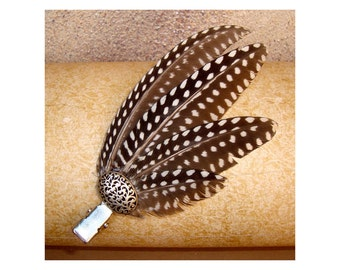 Guinea Fowl Feather Fascinator Hairclip Hair Tribal Headpiece jewellery