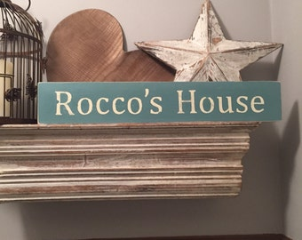 Large Wooden Sign - Dog Lovers, personalised pet sign - Rustic, Handmade, Shabby Chic, your dogs house! Your dogs name here