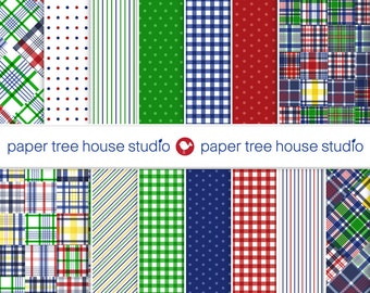Digital Papers - Madras Gingham Stripes Dots - Red Blue Green Yellow - Fourteen 8.5x11 & 12x12 inch Print Ready Files -PNG Format - ID 2025