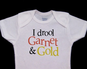 I drool Garnet & Gold Funny Baby Onesie Bodysuit