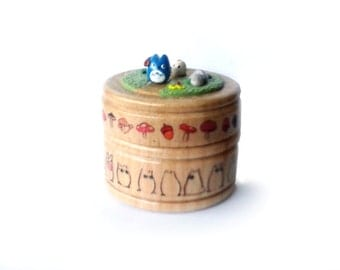 Round Totoro Wooden Ring / Pill / Gift Box - with soots and mushrooms - Large