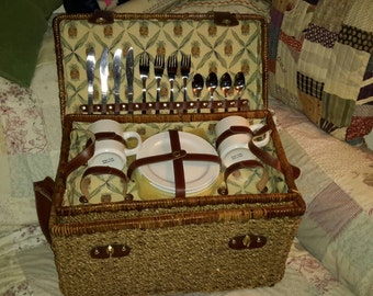 Picnic Basket Stocked With Dishes & Flatware Woven Rope Leather Accents Lined In Pineapple Linen Top Shelf Living by AntiquesandVaria