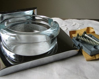 Retro Chrome Ashtray Holder Glass Ashtray Vintage bathroom Accessories