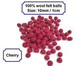 Handmade felt balls pom pom balls small wool felt balls bead felt arts and crafts 10mm 100%