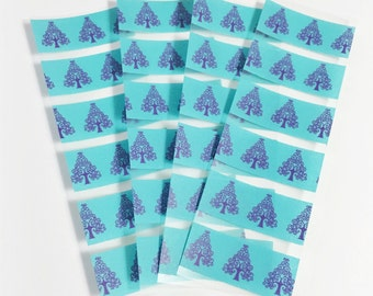 SALE 24 Samples Set of 4 Teal and Purple Tree Sample Sheets of Washi Tape Washi Samples Erin Condron Planner ECLP Size Cut Samples