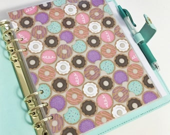 40% OFF SALE A5 Size Colorful Donut Sweet Pastries Purple Teal Pink Brown and White Donuts Laminated Dashboard Filofax Large Kikki k Planner