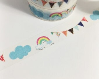 Colorful Rainbow Cloud and Bunting Polka Dots Stripes ROYGBIV Washi Tape 11 yards 10 meters 15mm