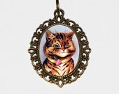 Winking Cat, Louis Wain Cats, Cat Necklace, Kitty Jewelry, Oval Pendant