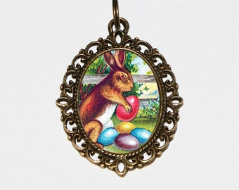Easter Bunny Necklace, Rabbit Jewelry, Easter Eggs, Oval Pendant