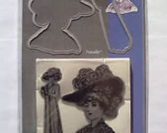Sizzix Framelits Die Set 2PK With Stamps - Lady With Hats by Hero Arts - 657854