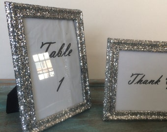 "Glitter Wedding Set of (10) 4 x 6"" Frames Covered in Silver Glitter Table Number Frames"