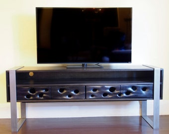 SandDrift Media Console - Blackened Walnut