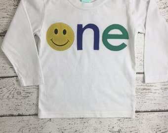 Children's Birthday Shirt smiley face shirt first birthday tee primary colors party long sleeve or short sleeve kid's shirt personalized tee