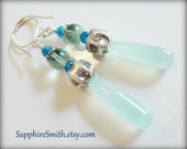 COOL WATER Aqua Blue Chalcedony Earrings, Karen Hill Tribe Fine Silver and Gemstone Earrings, casual jewelry, peacock blue seafoam green