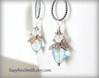 FAERIE MOON Sky Blue Topaz, Rainbow Moonstone Luxe Gemstone & Bali Sterling Silver Earrings